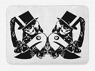 Lunarable Goth Bath Mat, Symmetrical Design of Sugar Skull Girls with Billiard Ball Lucky Tattoo with Hat, Plush Bathroom Decor Mat with Non Slip Backing, 29.5