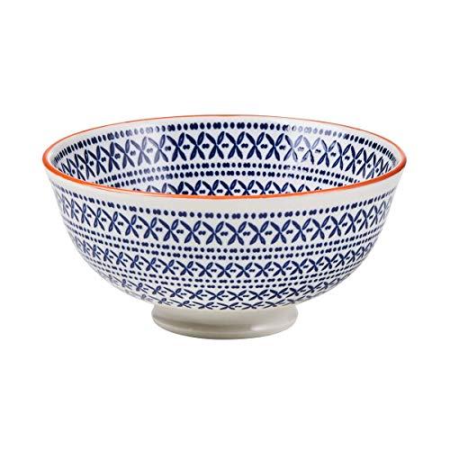 BUTLERS Ornaments Schale mit Muster in Blau-Orange 520 ml - M?slischale, Salatschale, Dessertschale, Suppenschale
