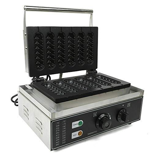 Gofrera comercial antiadherente de 6 celdas, de acero inoxidable, 1500 W, para preparar deliciosos gofres largos.