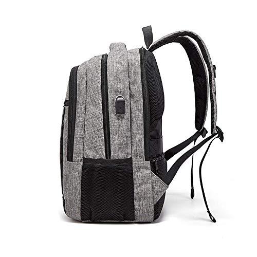 HUI JIN Mochila de viaje para ordenador portátil, antirrobo, bolsa de trabajo, con USB, color gris