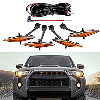 Seven Sparta 4 PCS Led Amber Lights with Fuse and Instruction for 2014-2019 Toyota 4Runner TRD Pro Grille, Including SR5, TRD off-road, Limited, TRO Pro (Amber Shell)