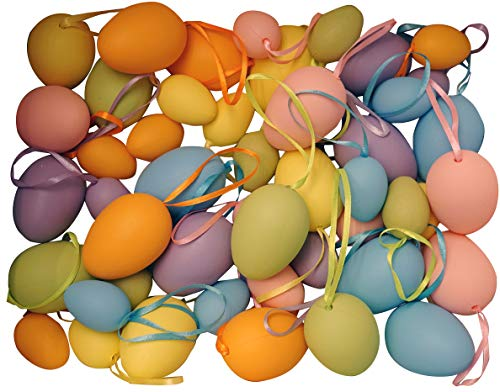 khevga 48er Set Ostereier klein und groß gemischt bunt mit Band