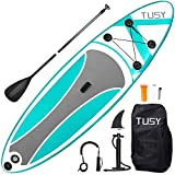 TUSY Inflatable Stand Up Paddle Board 10' Inflatable Paddle Boards SUP Paddleboards with SUP Accessories & Waterproof Backpack, Non-Slip Deck, Bottom Fins, Surf Control, for Youth Adult Beginner