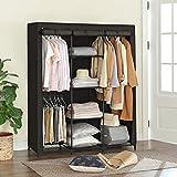 SONGMICS Kleiderschrank, Garderobenschrank mit Gitterablagen aus Eisen, Stoffschrank mit Tür und Kleiderstangen, Aufbewahrungsschrank, Vliesstoff, fürs Schlafzimmer, schwarz RYM34BK - 8