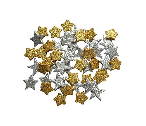 Helmecke & Hoffmann * Glitzernde kleine Deko-Sterne Streudeko ca. 45 Stück | Gold-Silber oder rot | Weihnachten Weihnachtssterne | Ø ca. 2 cm