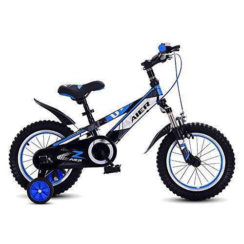 """YYSDH Kinderfahrräder 12 """"14"""" Kinderfahrrad for Mädchen Und Jungen Im Alter Von 2-5 Jahre Alt, Kinder Fahrrad Mit Stützrädern Und Handbremsen, Rot, Blau"""