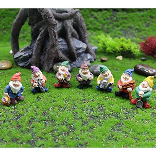Fairy Garden Accessories Outdoor,Gnomes Garden Decorations-Mini Gnomes Fairy Garden Set Seven Dwarfs Statue for Fairy Gardens Decoration