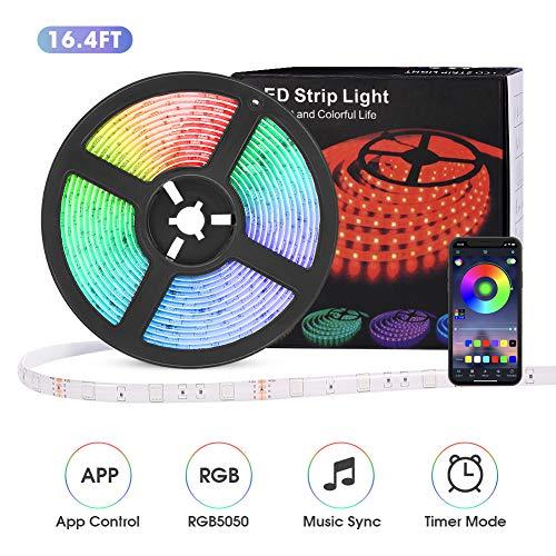 LED Streifen 5m, 12V Bluetooth LED Stripes RGB mit 40 Tasten IR-Fernbedienung, IP65 5050 LED Stripes Lichterkette Band Selbstklebend Leiste für Zuhause, Schlafzimmer, TV, Schrankdeko