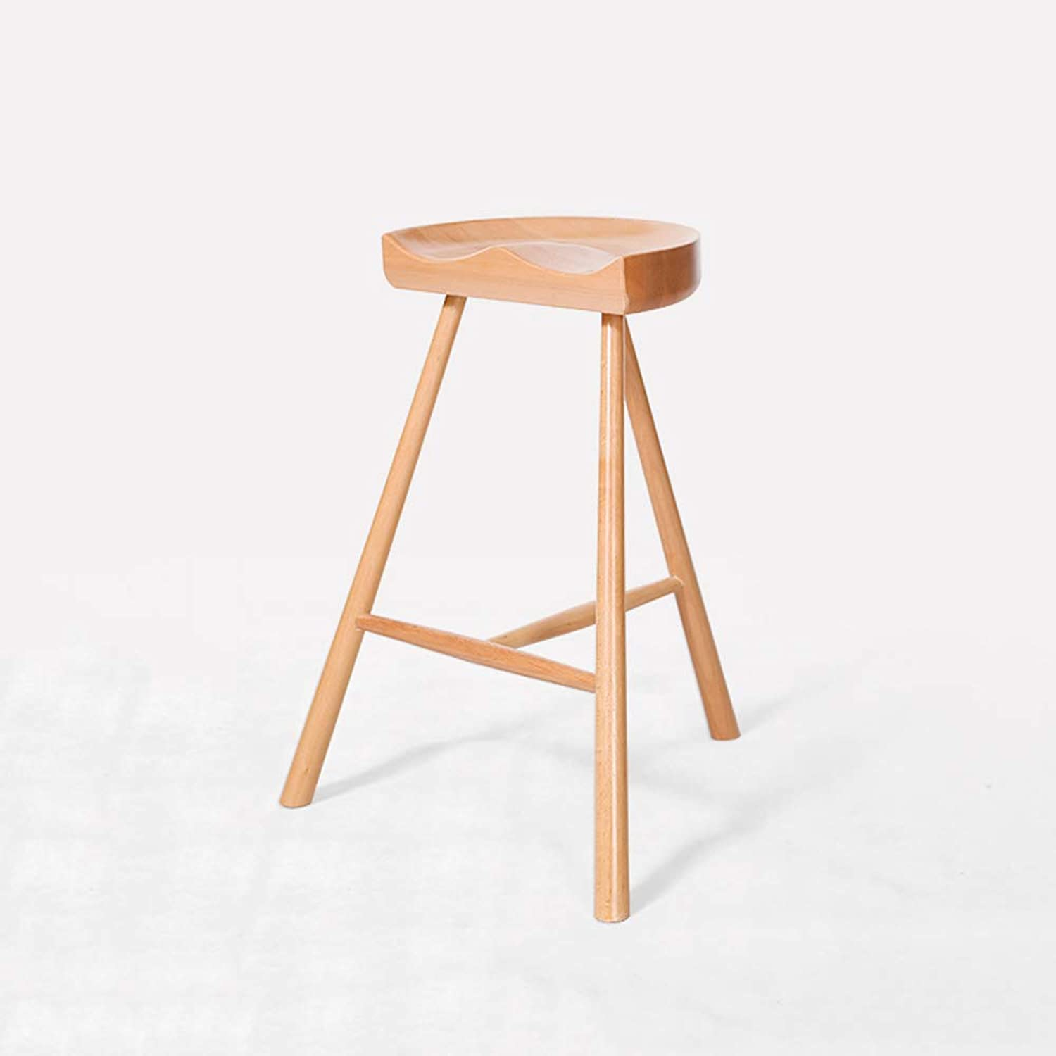 LLYU Solid Wood high Stool bar Stool bar Chair Nordic Simple bar Stool Counter Kitchen Cafe Dining Stool (color   A)
