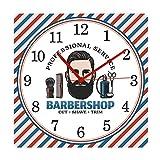 JXCDNB Barber Shop Barber Pole Modo silencioso Reloj de Pared Cuadrado Cepillo Colgante sillón sillón Cepillo Tienda de Corte decoración Reloj Reloj 12 Pulgadas