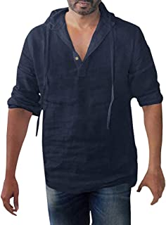 Shirt for Men, SFE Men's Baggy Cotton Linen Solid Button Plus Size Long Sleeve Hooded Shirts Tops