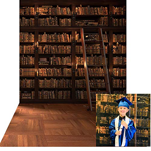 KonPon 5x10ft Wooden Bookshelf Photography Backdrop Library School Books Collection Photo Background Students Artistic Photo Booth Studio Props KP-004