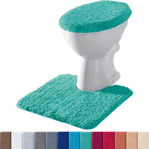 Erwin Müller Stand-WC-Set 2-TLG. Uni, WC-Umrandung, WC-Deckelbezug rutschhemmend Mint - ultraweich, extrem saugfähig, flusenarm (weitere Farben)
