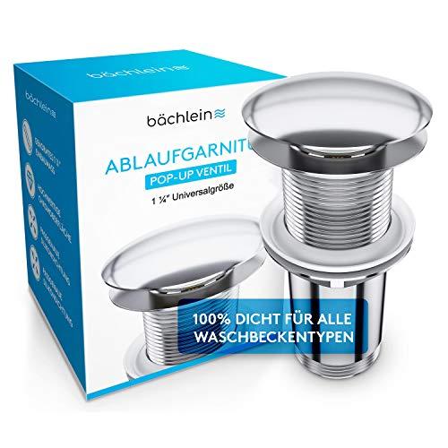 Bächlein Universal Ablaufgarnitur OHNE Überlauf fürs Waschbecken (Ohne Überlauf) - Abflussgarnitur inkl. 3 Dichtungen für maximale Kompatibilität