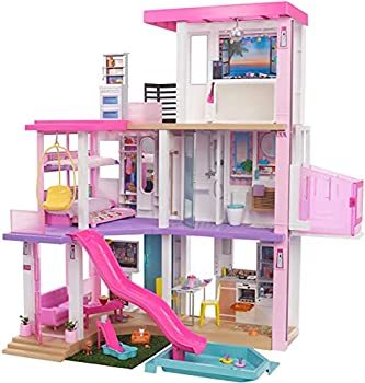 Barbie Dreamhouse  3.75-ft  3-Story Dollhouse Playset with Pool & Slide Party Room Elevator Puppy Play Area Customizable Lights & Sounds 75+ Pieces Gift for 3 to 7 Year Olds New for 2021