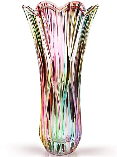Magicpro Flower Vase Large Size Phoenix Tail Shape Thickened Crystal Glass for Home Decor, Wedding or Gift