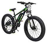 Geekay Fat tyre Electric 15.50 Frame Aluminium Eco 26T Mountain bike Pro Plus Bicycle for Unisex-Adult (Black Green)