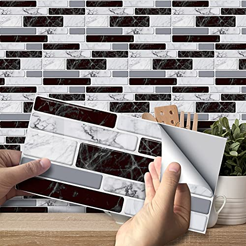 VIVILINEN 27PCS Pegatinas Autoadhesivas para Azulejos Pegatinas de Pared de PVC Impermeables Diseño de Azulejos de Cemento Decoración Adhesiva 20x10cm para Cocina Baño (Marble)