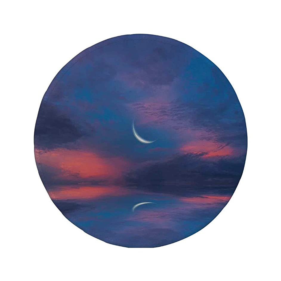 Non-Slip Rubber Round Mouse Pad,Farm House Decor,Surreal Sky with Water Surface Crescent Moon Fantasy Colors Scenery Image,Purple Pink,11.8