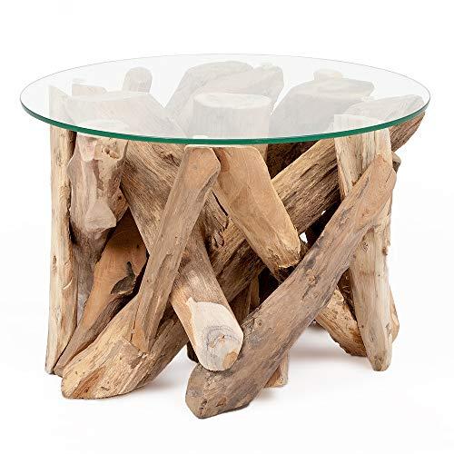 LEBENSwohnART Teak Couchtisch TORA-rund ca. D60cm Recycled Wood Wohnzimmertisch Beistelltisch