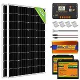 ECO-WORTHY 240 (2pcs 120W) Mono Panel Solar Off Grid RV Boat Kit completo con controlador de carga LCD + Cable + Montaje + Batería de litio + Inversor