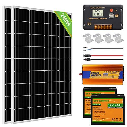 ECO-WORTHY 1kW·h Kit Panneau Solaire Complet 240W 12V Système Hors Réseau pour RV/Bateau/Maison: 2pcs Panneaux Solaires 120W+20A Contrôleur+2pcs Batteries au Lithium 20Ah+1000W Onduleur Solaire