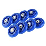 FONLAM Inline Skate Wheels Beginner's Premium Roller Blades Replacement Wheel with Bearings Rollerblade Wheels Skate Wheel Set for Rollerblade, Set of 8 (Dark Blue, 70mm 82a)