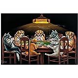 Xsyucp-Cuadros decoracion dormitorios 30x50cm Sin marco Perros jugando al póquer Cartel divertido Pet Pug In Casino Art Material Tejido no Tejido Impresión Artística Imagen Gráfica Decoracion de Pared