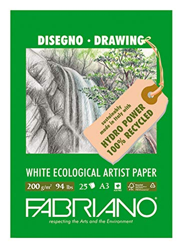 Honsell 22529242 - Fabriano Eco per Artisti Block Disegno, DIN A3, 200 g/m², 25 Blatt, ökologisches weißes Zeichenpapier aus 100Prozent recyceltem Zellstoff, säurefrei