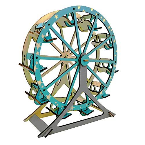 3D Wooden Puzzle Assemble Toy for Girls & Boy Adults - DIY Building Block Ferris Wheel Beginner Jigsaw - Home Decoration DIY Model - Best Educational Birthday Day Gift for Kids Ages 7+-Year-Old