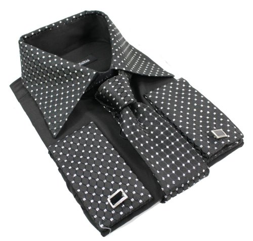 Hommes Bouton shirt Tie Cuff Link & Hankie Noir Argent Trim Design Brillant, Noir - Noir, Large