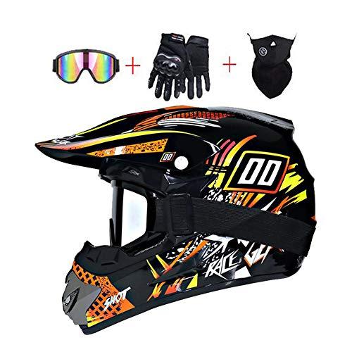 LEENY Motocross Helm - Herren Motorradhelm mit Brillen Handschuhe Maske, Motorrad Off-Road-Helm DH Enduro Quads Motorräder Crosshelm für Erwachsene Männer Frauen,Orange*Yellow,M
