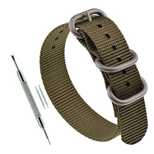 24ミリメートルカーキ厚いNATOスタイルのナイロンブレスレットストラップの交換腕時計バンド