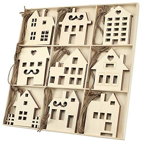 MACTING 27pcs Unfinished Wooden House Shape Ornaments, Rustic Baby Shower Wood Christmas Ornaments Tag Xmas Tree Hanging Decorations (27pcs Houses) …