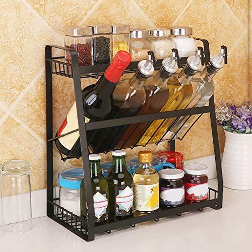 Mostbest 3 Tier Metal Kitchen Cabinet Spice Rack,Standing Corner Shelf, Kitchen Countertop Seasoning Organizer, Jars Bottle Storage Utensils Holder (3 Tier)
