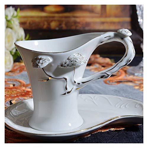 JSJJATQ Taza de café Taza de café de la Porcelana Blanca del Borde del Oro con platillo, Taza Elegante de la Porcelana Taza de té de la Tarde Taza de café Tazas de té Negro Tazas