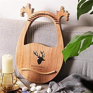 Chen0-super Lyre Harp 16-saitiges Holz-Saiteninstrument aus Mahagoni-Massivholz mit Tragetasche und Stimmschlüssel