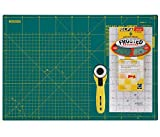 Olfa Quilters Green Starter Set, Includes 12'x18' Self Healing Mat, 6'x12' Non Slip Ruler, 45MM Rotary Cutter