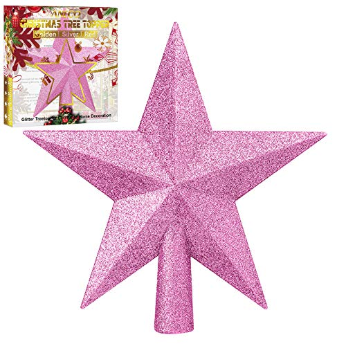 Aneco Glitter Christmas Tree Topper Shatter-proof Christmas Tree Decoration Treetop for Holiday Ornament or Home Decor (Pink, 4 Inches)