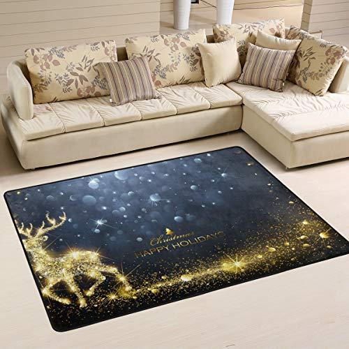 Jstel waschbarer weicher Weihnachts-Teppich mit Hirsch-Motiv, 90 x 60 cm, multi, 180 x 120 cm