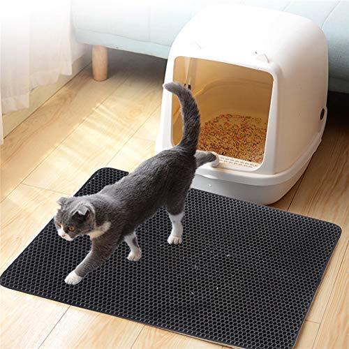 Lispeed Katzenstreu Matte, Katzenstreumatte, wasserdichte Katzenklo Matte als Vorleger Unterlage mit effizientem Bienenwabendesign für Katzentoilette - Katzenklo Unterlage - Katzenmatte in Schwarz