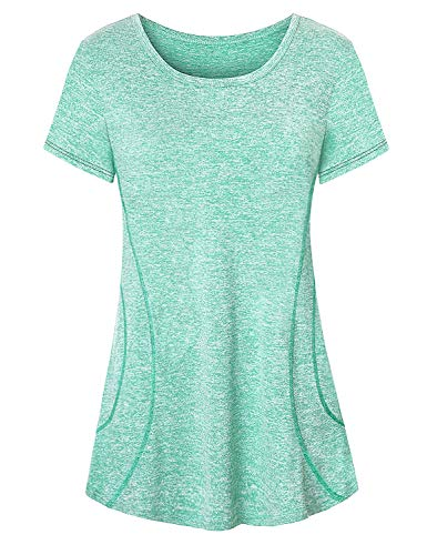 Tunic Tops for Leggings for Women,Cucuchy Ladies Running Shirt Chic Stretchy Short Sleeve Yoga Tshirts Fitness Sport Workout Clothing Modest Soft Summer Gym Top Relax Fit Marathon Outfit Light Green L
