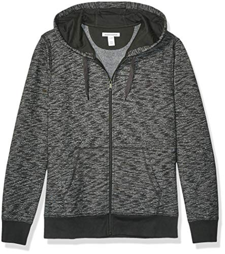 Amazon Essentials Men's Full-Zip Hooded Fleece Sweatshirt, Charcoal Space-Dye Small