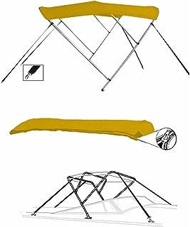 SBU-CV 7 oz Yellow 3 Bow Round Tube Boat Bimini TOP Sunshade for BAYLINER 2655 Ciera SUNBRIDGE 2001-2002