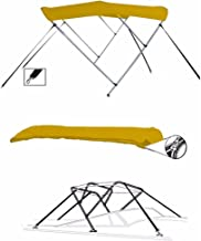 SBU-CV 7 oz Yellow 3 Bow Round Tube Boat Bimini TOP Sunshade for BAYLINER 1950 Capri BOWRIDER I/O 1989