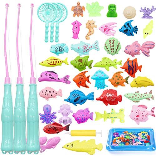 TATAFUN Angeln Spielzeug, Baby Badespielzeug Badewannenspielzeug Wasserspiel Perfekt Lernspiel Geschenk Sandspielzeug Gartenspielzeug Outdoor Spiele für Kinder (42 Stück)