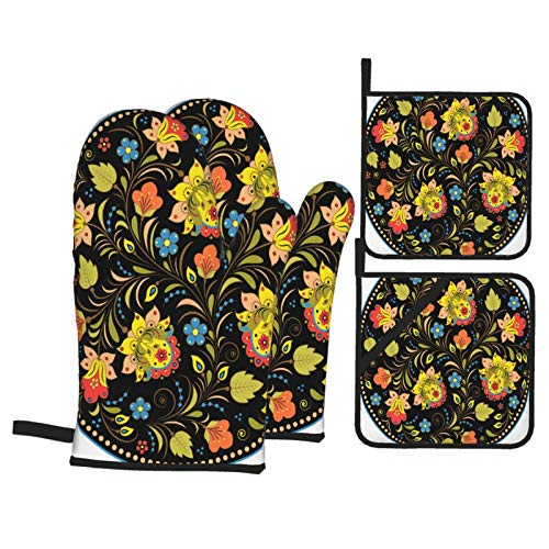 Heat Resistant Oven Mitts and Pot Holders 4 Pcs Sets Vector Illustration Floral Traditional Russian Pattern Kitchen Cooking Gloves for Microwave Baking Grilling BBQ