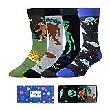 Men Funny Shark Alien Bigfoot Socks Novelty Food Christmas Kitchen Space Gift in 4 Pack