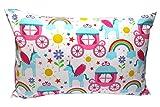 Funda de edredón y funda de almohada de  de carruaje de princesa con diseño de unicornio Colour de rosa  40 x 60 cm Cojín para vehículos para niños niño 100% algodón con diseño de lunares de colour azul claro