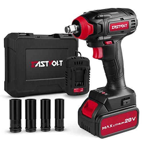 20V Max Cordless Impact Wrench, EASTVOLT Brushless Motor with 1/2 Inch Chuck, Max Torque 221ft.lbs, 2 Torque Settings, Fast Charger, 4.0Ah Lithium-ion Battery, 4 Pcs Driver Impact Sockets, EVIW2001B